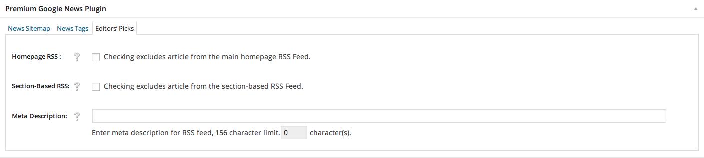 1f8a2290bbcf40 WordPress Premium Google News Plugin Editors  Picks Meta Box Screen Shot